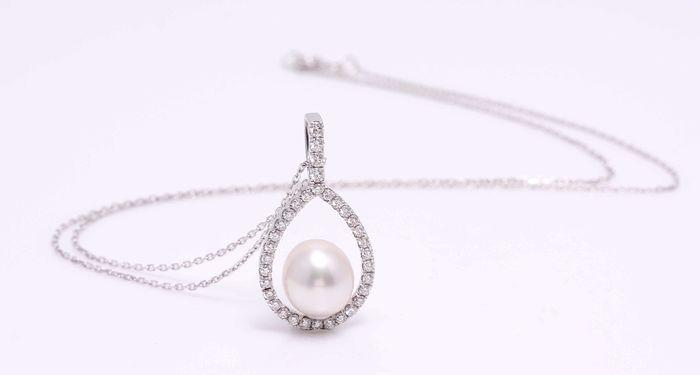Colier White Halo Pearl
