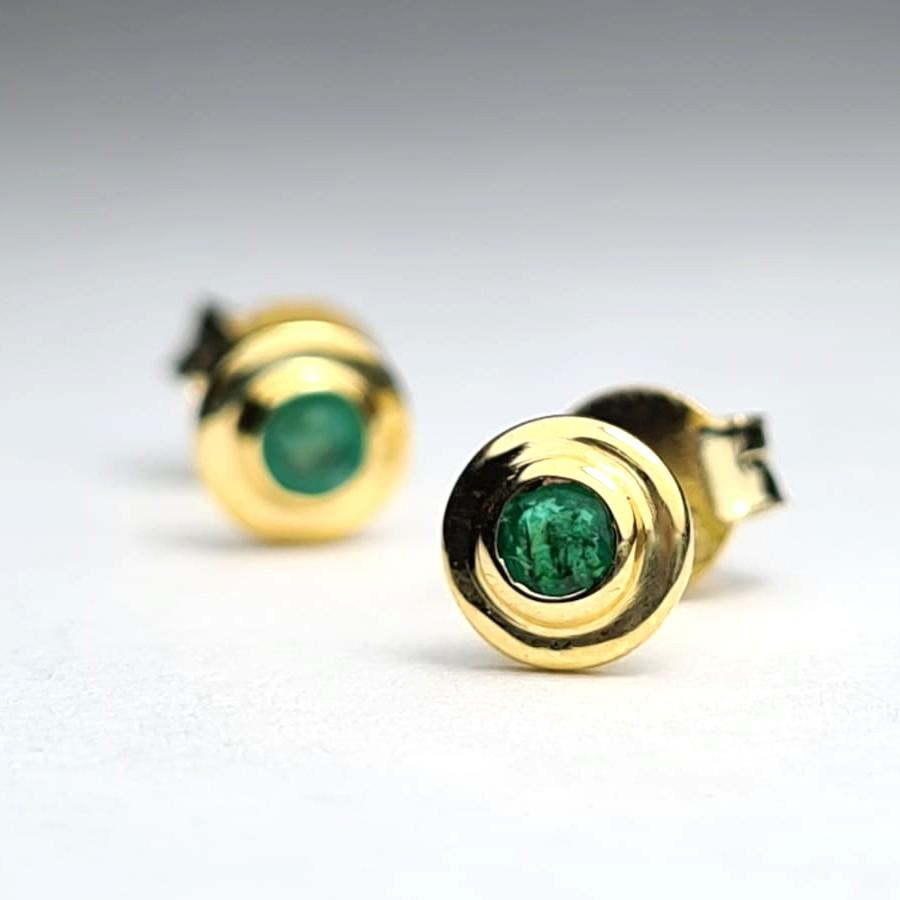 Cercei aur si smarald